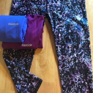 Fabletics Leggings and two Rebook shirts